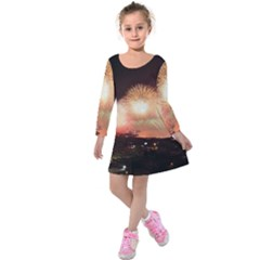 Kuwait Liberation Day National Day Fireworks Kids  Long Sleeve Velvet Dress
