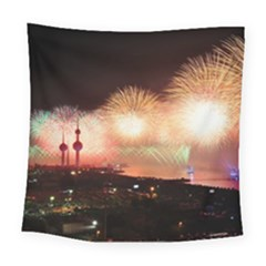 Kuwait Liberation Day National Day Fireworks Square Tapestry (large)