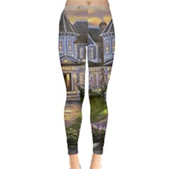Landscape House River Bridge Swans Art Background Leggings