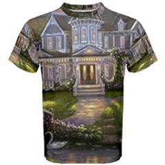 Landscape House River Bridge Swans Art Background Men s Cotton Tee