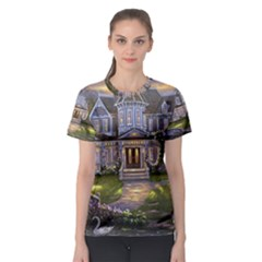 Landscape House River Bridge Swans Art Background Women s Sport Mesh Tee
