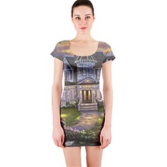 Landscape House River Bridge Swans Art Background Short Sleeve Bodycon Dress