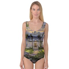Landscape House River Bridge Swans Art Background Princess Tank Leotard