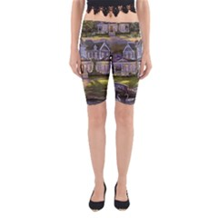 Landscape House River Bridge Swans Art Background Yoga Cropped Leggings
