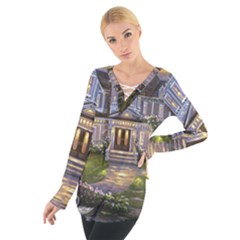 Landscape House River Bridge Swans Art Background Women s Tie Up Tee