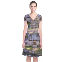 Landscape House River Bridge Swans Art Background Short Sleeve Front Wrap Dress