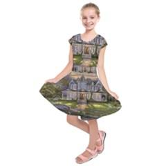Landscape House River Bridge Swans Art Background Kids  Short Sleeve Dress