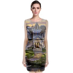Landscape House River Bridge Swans Art Background Sleeveless Velvet Midi Dress
