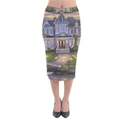 Landscape House River Bridge Swans Art Background Velvet Midi Pencil Skirt