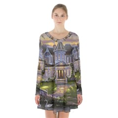 Landscape House River Bridge Swans Art Background Long Sleeve Velvet V Neck Dress