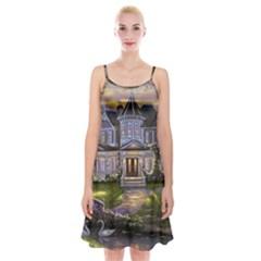 Landscape House River Bridge Swans Art Background Spaghetti Strap Velvet Dress