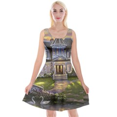 Landscape House River Bridge Swans Art Background Reversible Velvet Sleeveless Dress
