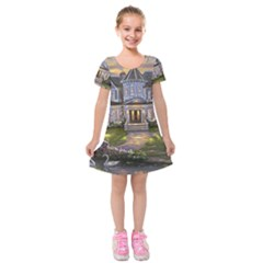 Landscape House River Bridge Swans Art Background Kids  Short Sleeve Velvet Dress