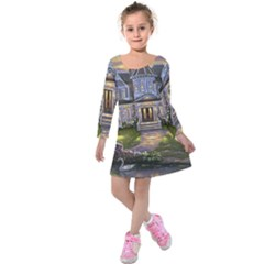 Landscape House River Bridge Swans Art Background Kids  Long Sleeve Velvet Dress