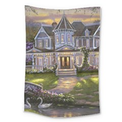 Landscape House River Bridge Swans Art Background Large Tapestry