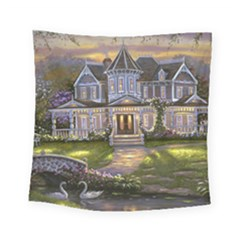 Landscape House River Bridge Swans Art Background Square Tapestry (Small)