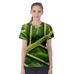 Leaf Dark Green Women s Sport Mesh Tee