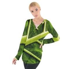 Leaf Dark Green Women s Tie Up Tee