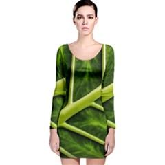 Leaf Dark Green Long Sleeve Velvet Bodycon Dress