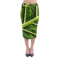Leaf Dark Green Midi Pencil Skirt