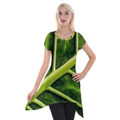 Leaf Dark Green Short Sleeve Side Drop Tunic