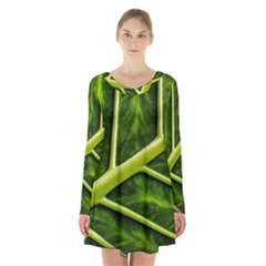 Leaf Dark Green Long Sleeve Velvet V Neck Dress