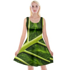 Leaf Dark Green Reversible Velvet Sleeveless Dress