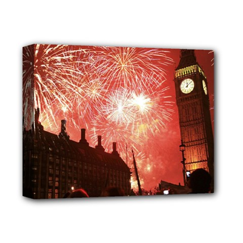 London Celebration New Years Eve Big Ben Clock Fireworks Deluxe Canvas 14  X 11