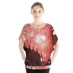London Celebration New Years Eve Big Ben Clock Fireworks Blouse