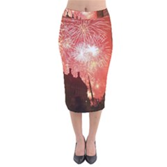 London Celebration New Years Eve Big Ben Clock Fireworks Velvet Midi Pencil Skirt