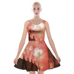 London Celebration New Years Eve Big Ben Clock Fireworks Velvet Skater Dress
