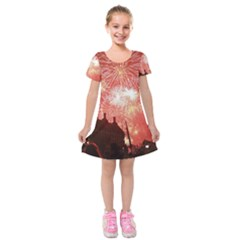 London Celebration New Years Eve Big Ben Clock Fireworks Kids  Short Sleeve Velvet Dress