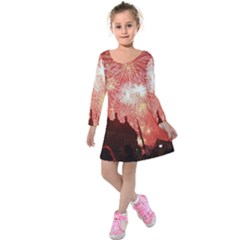 London Celebration New Years Eve Big Ben Clock Fireworks Kids  Long Sleeve Velvet Dress