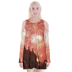 London Celebration New Years Eve Big Ben Clock Fireworks Velvet Long Sleeve Shoulder Cutout Dress