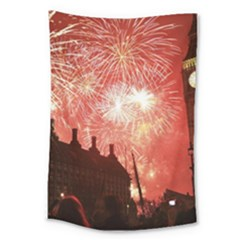London Celebration New Years Eve Big Ben Clock Fireworks Large Tapestry