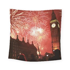 London Celebration New Years Eve Big Ben Clock Fireworks Square Tapestry (Small)