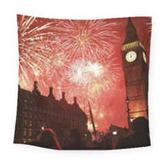 London Celebration New Years Eve Big Ben Clock Fireworks Square Tapestry (Large)