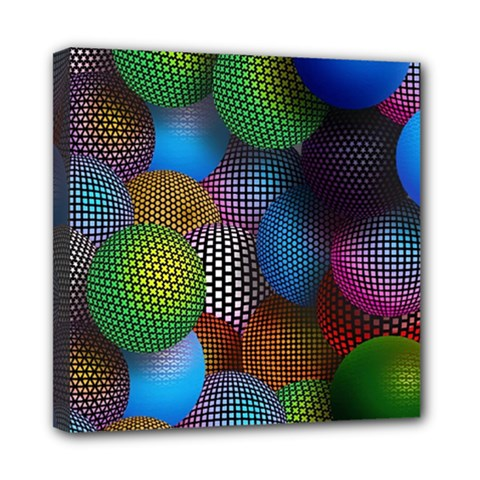 Multicolored Patterned Spheres 3d Mini Canvas 8  X 8