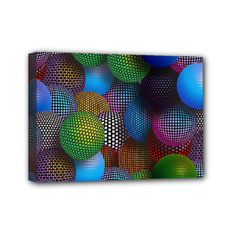 Multicolored Patterned Spheres 3d Mini Canvas 7  X 5