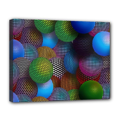 Multicolored Patterned Spheres 3d Canvas 14  X 11