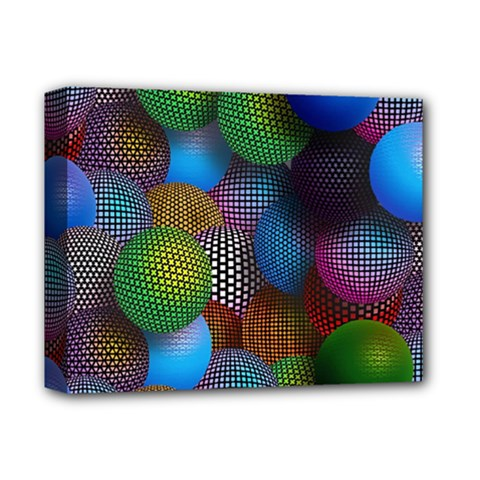 Multicolored Patterned Spheres 3d Deluxe Canvas 14  X 11