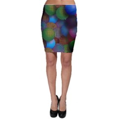 Multicolored Patterned Spheres 3d Bodycon Skirt
