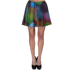 Multicolored Patterned Spheres 3d Skater Skirt