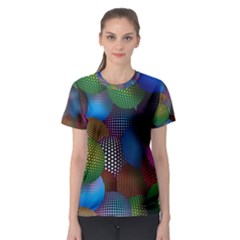 Multicolored Patterned Spheres 3d Women s Sport Mesh Tee