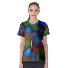 Multicolored Patterned Spheres 3d Women s Cotton Tee