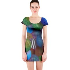 Multicolored Patterned Spheres 3d Short Sleeve Bodycon Dress