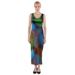 Multicolored Patterned Spheres 3d Fitted Maxi Dress