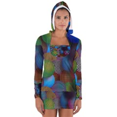 Multicolored Patterned Spheres 3d Women s Long Sleeve Hooded T-shirt