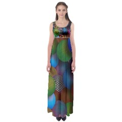 Multicolored Patterned Spheres 3d Empire Waist Maxi Dress