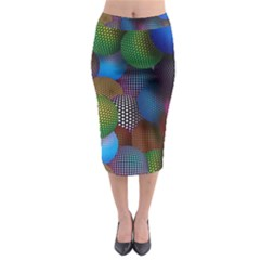 Multicolored Patterned Spheres 3d Midi Pencil Skirt